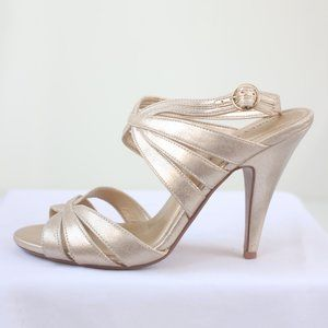 Audrey Brooks Gold Strappy Open Toe Heel 10